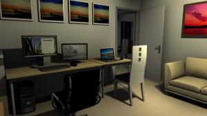 Blick aus dem Arbeitszimmer bei Nacht