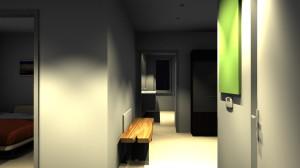 Und so sieht der Flur in der Simulation aus, Blick aus der Eingangstür (geringe Qualität, rechts die Steuerung der Wohnraumbelüftung, das grüne Ding wird eine Überraschung)