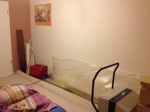 Noch keine idealen Bedingungen im Schlafzimmer..