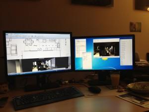 So sieht er übrigens aus, der typische Simulationsarbeitsplatz (mit reinstem Orangensaft..)