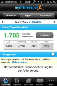 Screenshot der MyFitnessPal App - man beachte die automatisch aus Fitbit übertragenen Kalorien für Trainings