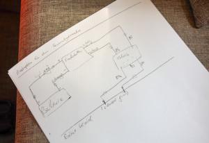 Scherzhaft aufgezeichneter Masterplan inklusive peinlichem Schreibfehler - ein Original halt
