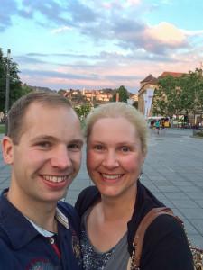 Selfie auf dem Schlossplatz zum Abschied