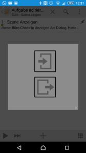 Druck auf die obere Schaltfläche: Ankunft; Druck auf die untere: Gehen.