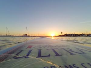 Unser letzter Sonnenuntergang in CA vom Board aus - ein Traum